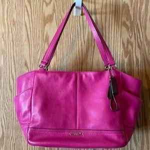 Coach pebbled leather fuchsia pink tote EUC